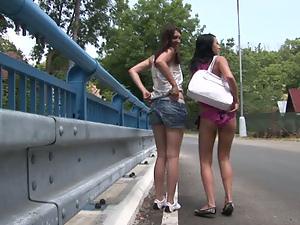 Daring teens undressing on the street