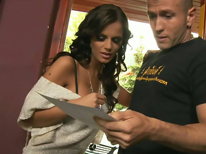 Beautiful Russian Wife fucks the salesman paid to deliver her car