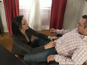 FIT brunette MILF sucks and fucks her boss at work