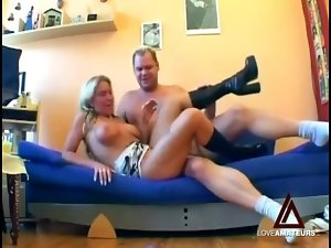 Busty blonde cocksucker in boots fucked hardcore