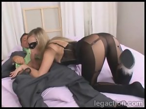 Horny girl dressed in lingerie and sucking dick