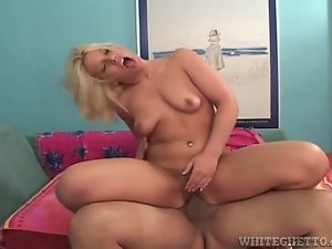 Blonde plowed in her hairy vagina and moaning