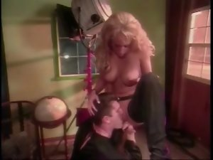 Blonde girl in chaps licked and fingered