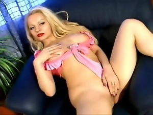 Blonde slut in dark red lipstick masturbates