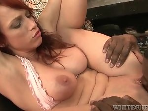 Redhead Nicki Hunter licked and fucked by black cock