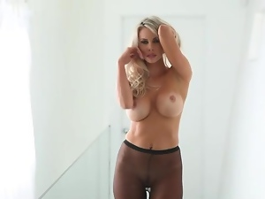 Big round tits are tasty on blonde chick