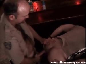 Cops in the bar get head and go anal