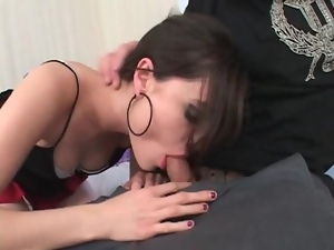 Sasha Grey sucks dick in sexy red lipstick