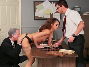 Katie Jordin gets stabbed by two cocks!