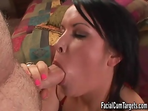 Titjob and dirty talk makes the guy cum
