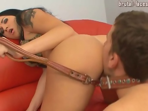 Leashed guy licks pussy as mistress demands