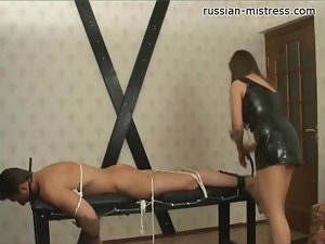 Tied and beaten by his beautiful mistress