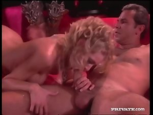 Sexy teased out blonde hair on this fuck slut