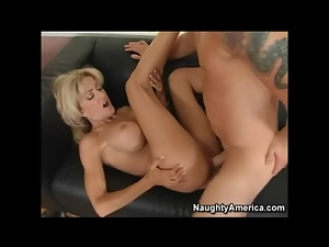 Skinny mom with huge fake tits fucked