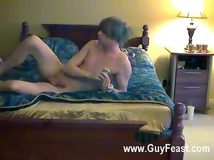 Sexy gay Trace and William make out and flip around on the bed as