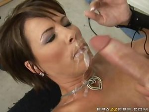 Hot milf Kayla Synz gets her big boobs fucked and takes a massive cumshot