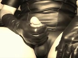 Jerk Off On Leather Gloves