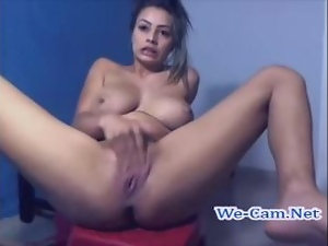 Horny bigtits masturbates with finger on webcam