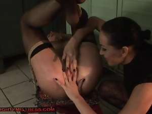 Busty lesbian slave tortured in locker room