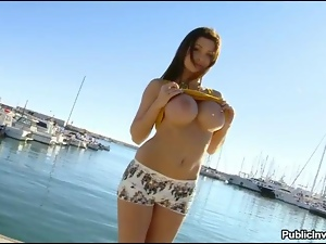 Big tits Aletta Ocean boned by the beach