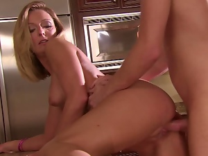 Blonde cougar fucks grocery boy