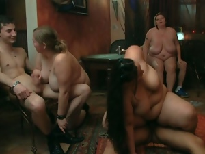 Three fat sluts handle three young cocks