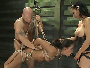 Bdsm threesome for a kinky brunette