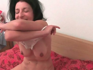 Hairy granny solo masturbation