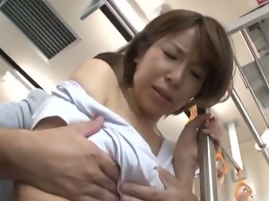 Japanese milf mana katase exploited on train