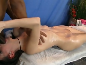 Interracial massage and fuck session