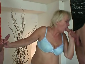 Old cleaning granny takes two guys