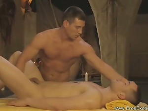 Steamy gay anal massage session