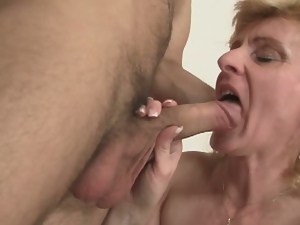 Pick up fuck with horny blonde granny