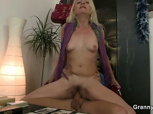 Nasty old lady rides young cock