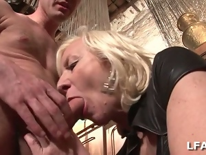 Blond mature in a french porn