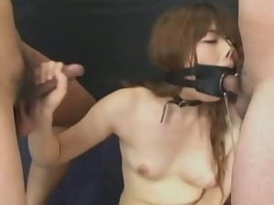 Japanese babe gets to endure intense bdsm blowjobs