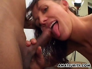 Amateur milf enjoys two hard cocks