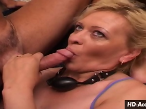 Mature blonde assaults cock with her mouth