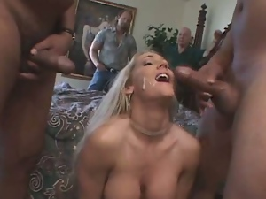 Blonde wifey threesome in front of hubby