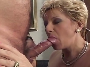 Grandma's filthy fun with two cocks