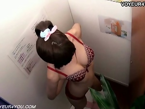 Japanese schoolgirl strips after a massage