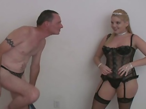 Blonde princess fucks a man's ass hole