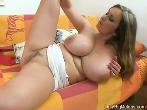 Bored blonde plumber plays with her tits