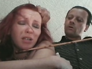Nasty punishment for redheaded wife