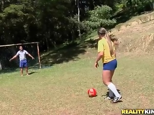 Latina strips off soccer uniform and models big ass