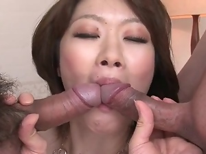 Spit roasted Japanese slut fucked in cunt and ass