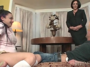 Curvy slut in skirt sucks dick as mom watches