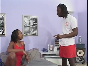 Lifeguard swimsuit striptease and ebony sex