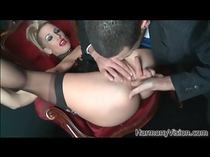 Corset and sexy red lipstick on gorgeous fucked girl