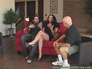 Wife Love to Fuck Hard by Young man while husband is watching